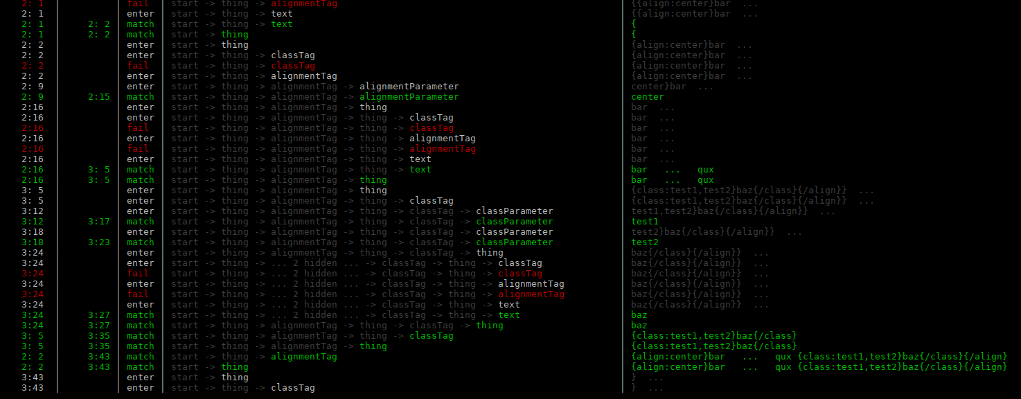 Screenshot of better-peg-tracer on a terminal