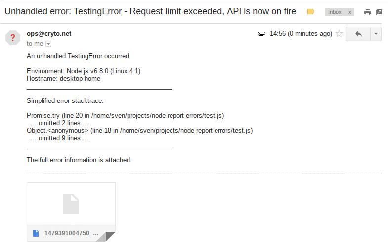 Screenshot of report e-mail
